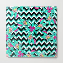 Summer bold tropical pink turquoise floral pattern geometric chevron Metal Print