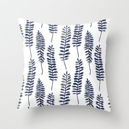 Watercolour Fern Pattern | Navy and Gold Throw Pillow