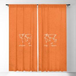 Adventure Map - Retro Orange Blackout Curtain