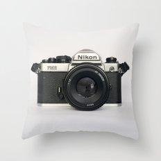 Classic chemicol retro camera. 35 mm format camera Throw Pillow