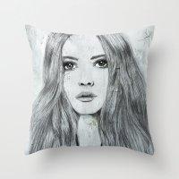 karen Throw Pillows featuring Karen by Just Art by Lena Wennerström