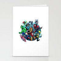 super heroes Stationery Cards featuring Super Heroes by Carrillo Art Studio