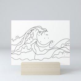 Minimal Line Art Ocean Waves Mini Art Print