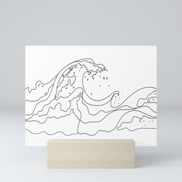 Minimal Line Art Ocean Waves Mini Art Print