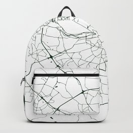 White on Dark Green Dublin Street Map Backpack