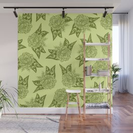 Cabbage Roses in Chartreuse Wall Mural