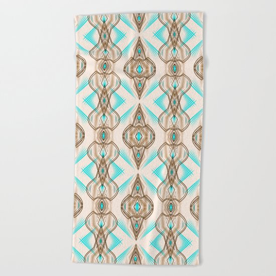 Art Deco . Turquoise brown white . Beach Towel