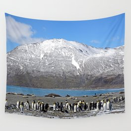 Snowy mountain with King Penguins in the Foreground Wall Tapestry