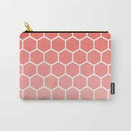 Coral pink gradient honey comb pattern Carry-All Pouch