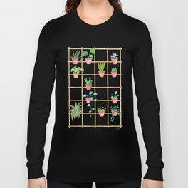 Watercolor Pot Plants Long Sleeve T-shirt
