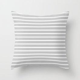 Light Grey and White Horizontal Stripes Pattern Throw Pillow