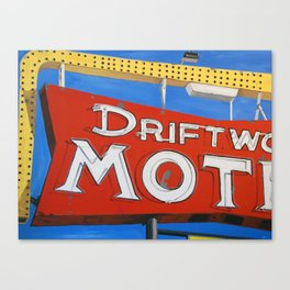 The Driftwood Motel Retro Neon Sign Painting Canvas Print