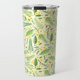 Tropical yellow green abstract leaves floral pattern Travel Mug