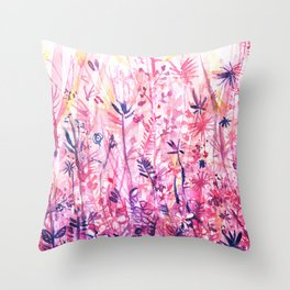 watercolor pink grass Throw Pillow