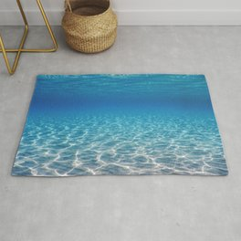 Underwater Blue Ocean, Sandy sea bottom Underwater background Rug