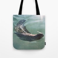 seal Tote Bags featuring Seal  by Chelle Wootten