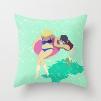 pool Throw Pillows featuring Pool by ministryofpixel