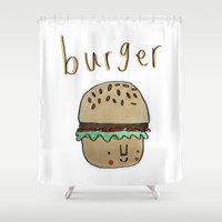 burger Shower Curtains featuring Burger by Tuesday Alissia