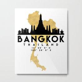 BANGKOK THAILAND SILHOUETTE SKYLINE MAP ART Metal Print