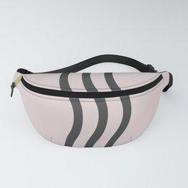 Pastel Pink Black  Waves Fanny Pack