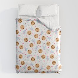 Happy Milk and Cookies Pattern Duvet Cover