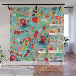 Candy Pattern - Teal Wall Mural