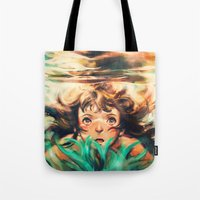 river Tote Bags featuring The River by Alice X. Zhang