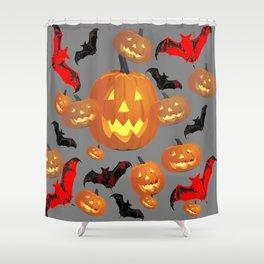 GREY HALLOWEEN JACK O'LANTERNS & BATS Shower Curtain