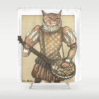 banjo Shower Curtains featuring Banjo Cat by Felis Simha