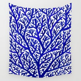 Fan Coral – Navy Wall Tapestry