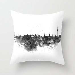 Black and white Berlin watercolor skyline Throw Pillow
