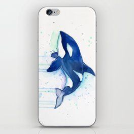 Killer Whale Orca Watercolor iPhone Skin