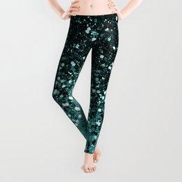 Teal Mermaid Ocean Glitter #3 #shiny #decor #art #society6 Leggings