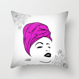 Lady Wrap (purple) Throw Pillow