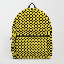 Blazing Yellow and Black Polka Dots Backpack