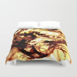 Scary cat of the yellow tone Duvet Cover