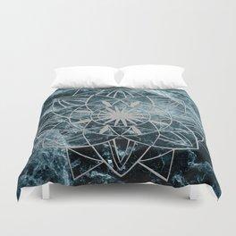 Star Mandala on Enigmatic Deep Blue Ocean Marble #1 #decor #art #society6 Duvet Cover