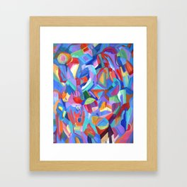 Distraction. An abstract expressionist, geometric painting. Framed Art Print