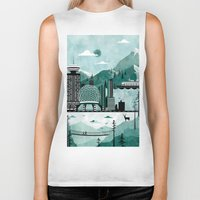travel poster Biker Tanks featuring Vancouver Travel Poster Illustration by ClaireIllustrations