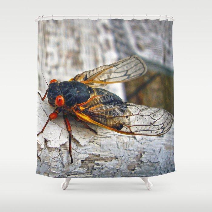 Red Eyed Cicada Shower Curtain