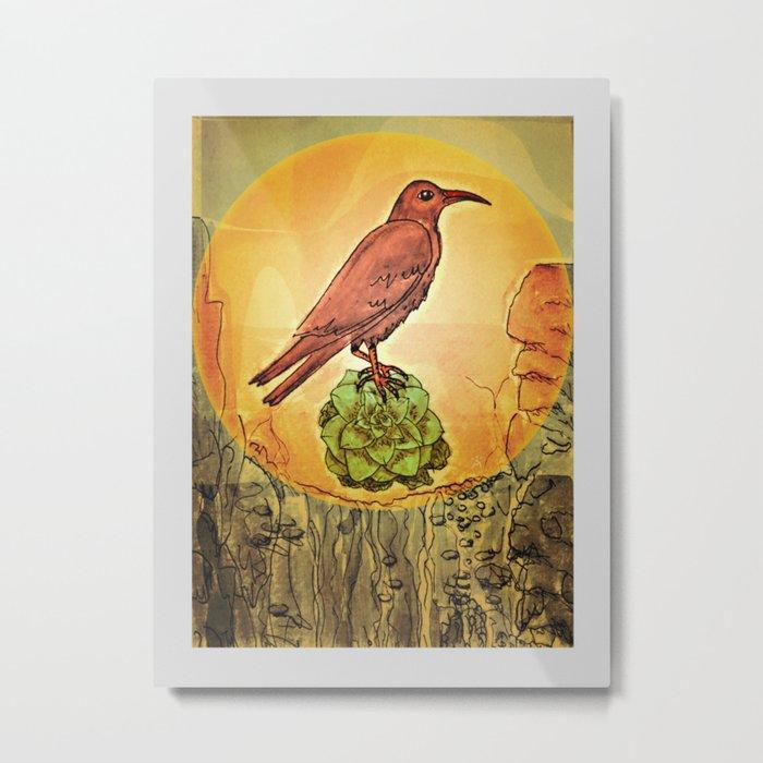 NATURE / BIRD and SUCCULENT Metal Print
