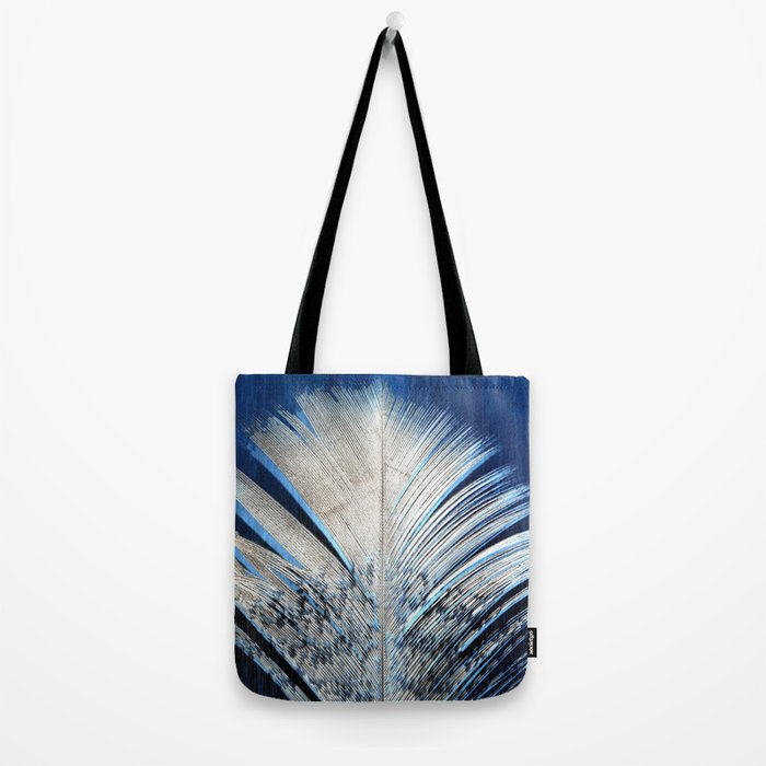Feather | Feathers | Spiritual | White and Blue Feather | Nature Tote Bag