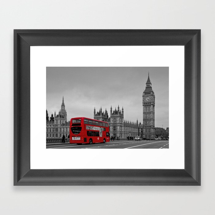 Black And White London With Red Bus Framed Art Print By