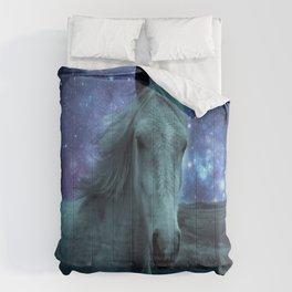 Fairy tale Horse Dark Blue Galaxy Skies Comforters