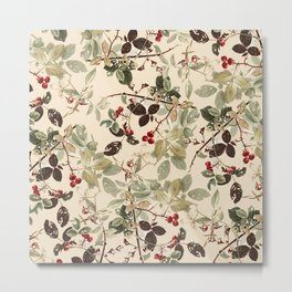 Vintage ivory red green forest berries floral Metal Print