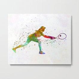 Woman tennis player sadness 02 in watercolor Metal Print