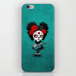 Day of the Dead Girl Playing Turks and Caicos Flag Guitar iPhone Skin