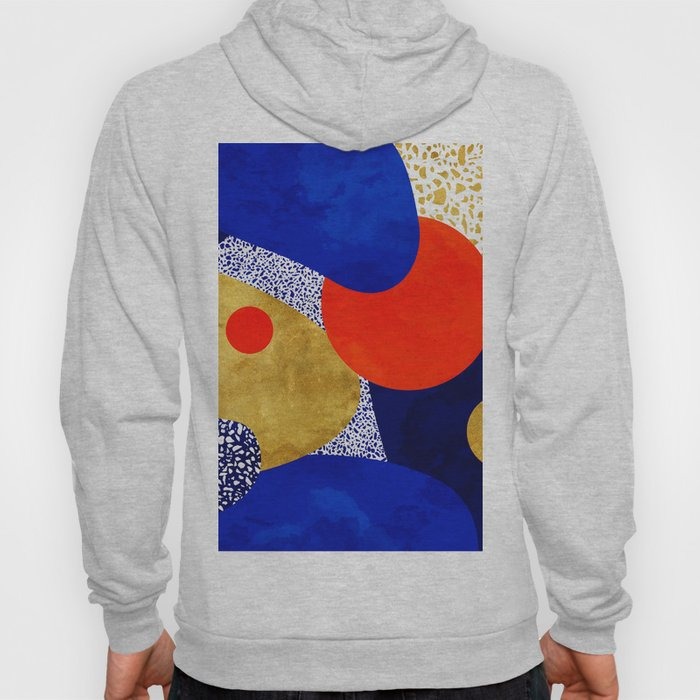 Terrazzo galaxy blue night yellow gold orange Hoodie