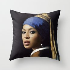 Bey with a Pearl Earring Throw Pillow