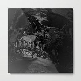 3D Data Mosh Skull - Black Cropped Metal Print